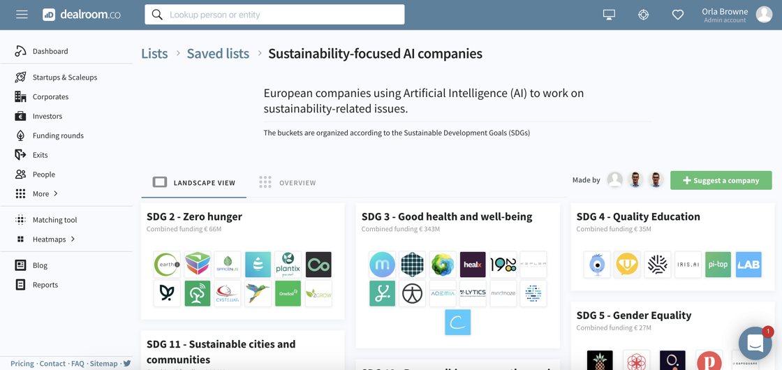 Screenshot of landscape showing European AI companies addressing UN SDGs